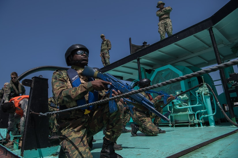 Comorian sailors participate in visit, board, search and seizure training during exercise Cutlass Express 2019 in Djibouti.