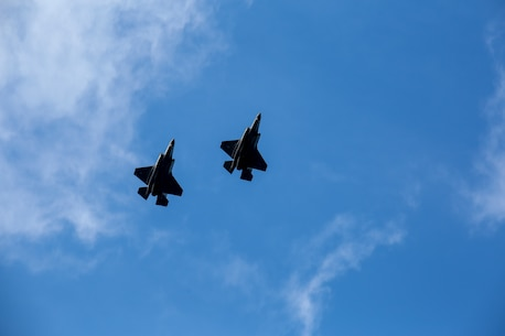 A pair of F-35's fly overhead during Marine Division Tactics Course aboard Marine Corps Air Station Beaufort, Feb. 1. MDTC focuses on air to air and self-escort strike tactics to help aviators hone their skills for real life scenarios.