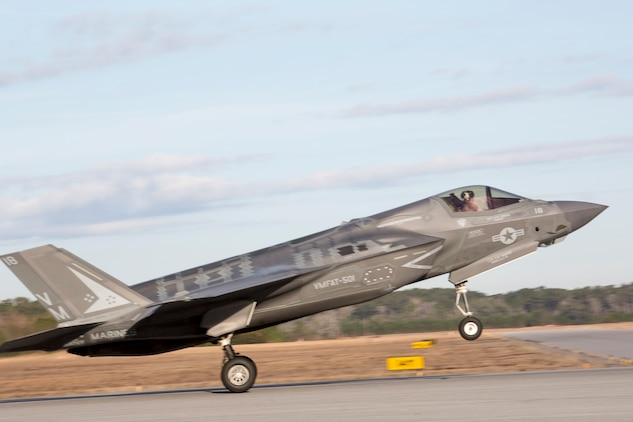 An F-35 takes off during Marine Division Tactics Course aboard Marine Corps Air Station Beaufort, Feb. 1. MDTC focuses on air to air and self-escort strike tactics to help aviators hone their skills for real life scenarios.