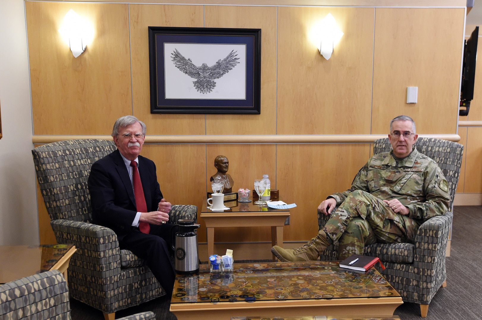 Ambassador John Bolton, National Security Advisor, meets with U.S. Air Force Gen. John Hyten, commander of United States Strategic Command (USSTRATCOM), during his visit to USSTRATCOM at Offutt Air Force Base, Neb., Feb. 14, 2019. The Ambassador observed USSTRATCOM's combat-ready force, engaged in discussions with senior leaders and thanked warfighters for their service to the nation. Bolton's visit also highlighted USSTRATCOM's critical role in the National Security Strategy. (U.S. Air Force photo by Master Sgt. April Wickes)