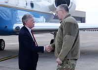 Air Force Gen. John Hyten, commander of United States Strategic Command (USSTRATCOM), greets Ambassador John Bolton, National Security Advisor, during his trip to USSTRATCOM, Offutt Air Force Base, Neb., Feb. 14, 2019. The Ambassador observed USSTRATCOM's combat-ready force, engaged in discussions with senior leaders and thanked warfighters for their service to the nation. Bolton's visit also highlighted USSTRATCOM's critical role in the National Security Strategy. (U.S. Air Force photo by Charles Haymond)