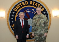 Ambassador John Bolton, National Security Advisor, meets with Air Force Gen. John Hyten, commander of United States Strategic Command (USSTRATCOM), during his trip to USSTRATCOM, Offutt Air Force Base, Neb., Feb. 14, 2019. The Ambassador observed USSTRATCOM's combat-ready force, engaged in discussions with senior leaders and thanked warfighters for their service to the nation. Bolton's visit also highlighted USSTRATCOM's critical role in the National Security Strategy. (U.S. Air Force photo by Steve Cunningham)
