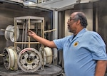 Roy Spencer, 12th Maintenance Group Aircraft Wheel and Tire Shop technician, inspects seals that were recently washed inside the Aircraft Wheel and Tire Shop on Feb. 14, 2019, at Joint Base San Antonio-Randolph, Texas. Tire shop technicians and AGE members are part of a team that ensure the integrity of the wheels and tires used on the 12th FTW's fleet of trainer aircraft. (U.S. Air Force photo by Tech. Sgt. Ave I. Young)