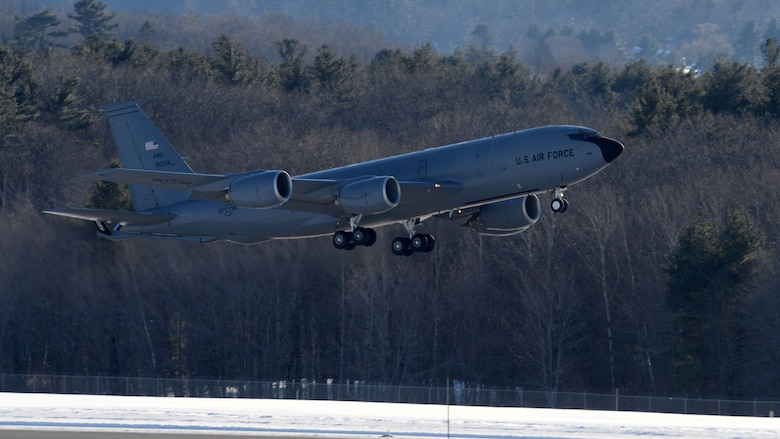 Aircrew from the 157th Air Refueling Wing, New Hampshire Air National Guard, take off in a KC-135R Stratotanker, tail number 58-0023, at Pease Air National Guard Base, N.H., Jan. 30, 2019. The aircraft is one of eight aircraft leaving the Wing during the unit's divestiture of the KC-135. The aircraft is headed to the 151st ARW, Wright ANGB, Utah. (U.S. Air National Guard photo by Staff Sgt. Curtis J. Lenz)