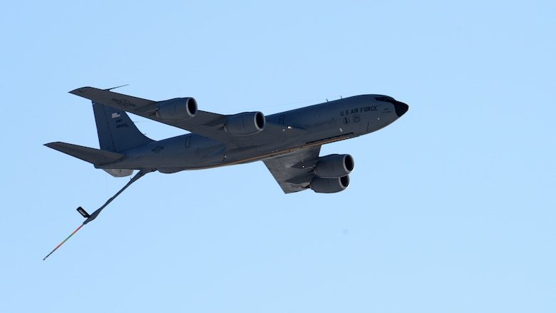 A KC-135R Stratotanker, tail number 58-0023, from the 157th Air Refueling Wing, New Hampshire Air National Guard, passes over Pease Air National Guard Base, N.H., Jan. 30, 2019. The aircraft is one of eight aircraft leaving the Wing during the unit's divestiture of the KC-135. The aircraft is headed to the 151st ARW, Wright ANGB, Utah. (U.S. Air National Guard photo by Staff Sgt. Curtis J. Lenz)
