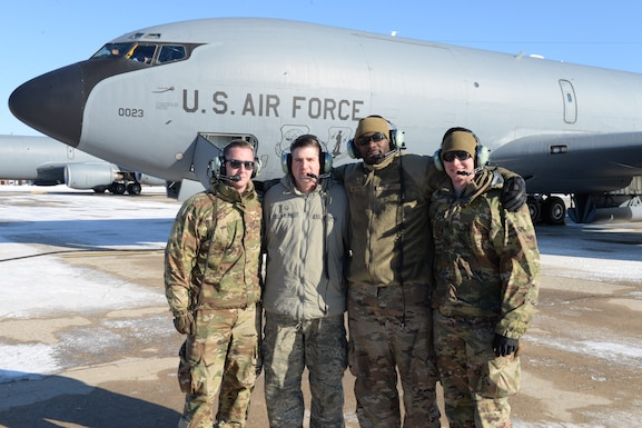 The Aircraft Maintenance Crew of tail number 58-0023 from the 157th Air Refueling Wing, New Hampshire Air National Guard, pose for a group photo Jan. 30, 2019. From left, Staff Sgt. Mike McCrady, Master Sgt. Justin Web, Staff Sgt. Dennis Wardell, TSgt. Joe Hewitt. The aircraft is one of eight aircraft leaving the Wing during the unit's divestiture of the KC-135. The aircraft is headed to the 151st ARW, Wright ANGB, Utah. (U.S. Air National Guard photo by Staff Sgt. Curtis J. Lenz)