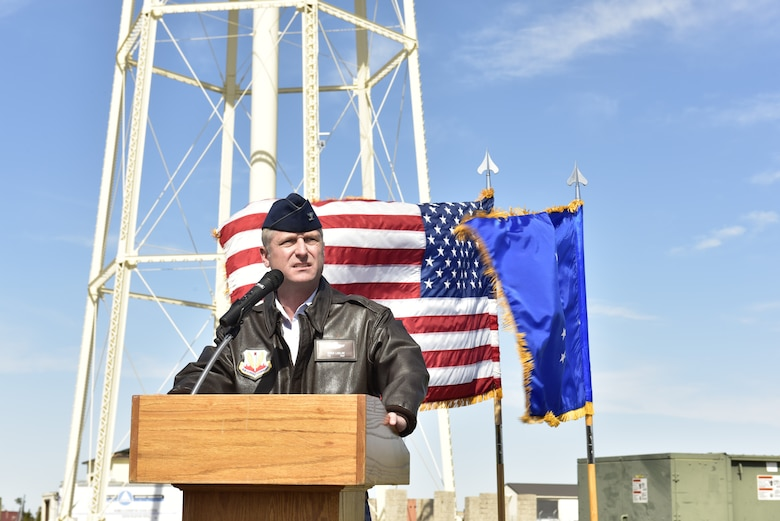 U.S. Air Force Col. Brian Laidlaw, 325th Fighter Wing commander, gives a speech during the Great American Defense Communities celebration at Tyndall Air Force Base, Fla., Feb. 13, 2019. Bay County, is one of five communities across the country to be named a Great American Defense Community in 2019. The GADC program leaders work to recognize military communities and regions that help improve the quality of life for veterans, service members and their families.  (U.S. Air Force photo by Staff Sgt. Alexandre Montes)