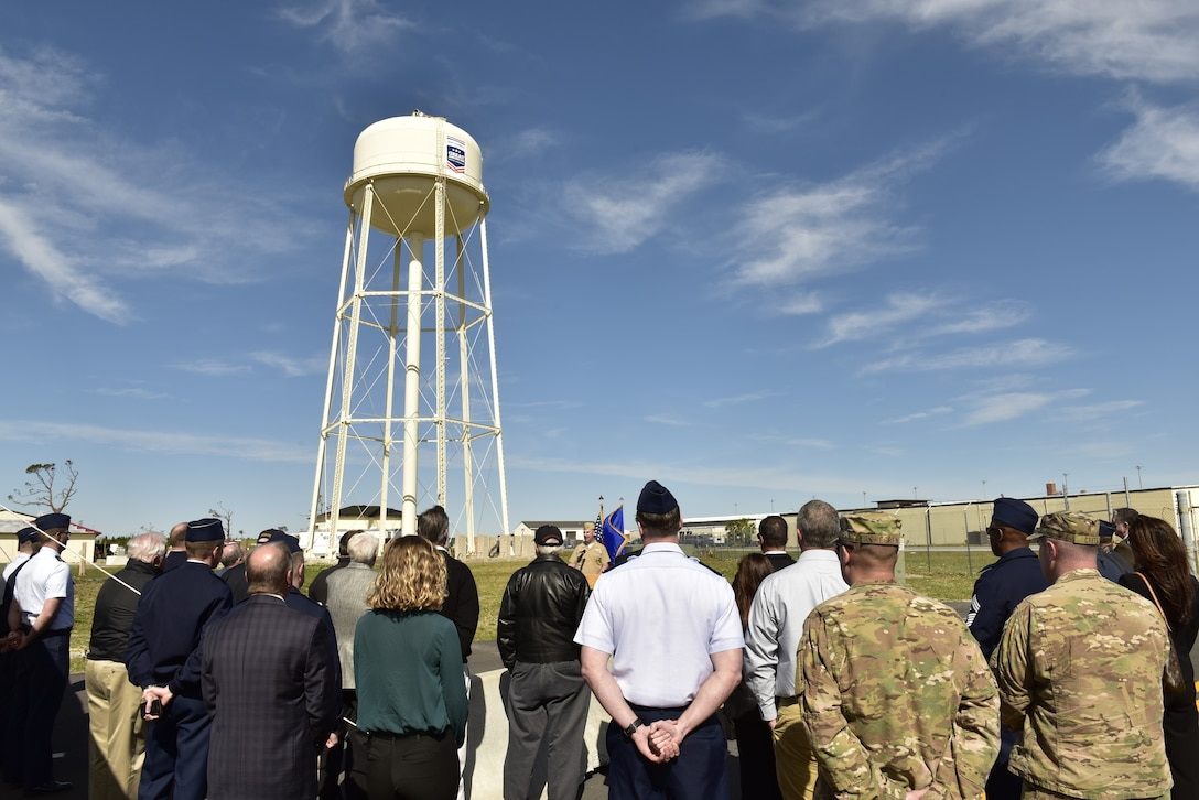 U.S. Navy Cmdr. Jay Sego, Naval Support Activity-Panama City commanding officer, gives his remarks about the importance of community support during an unveiling of a logo on the base water tower at Tyndall Air Force Base, Fla., Feb. 13, 2019. Tyndall was awarded the Great American Defense Community Award for 2019 with a commemorative logo painted on the water tower to represent Bay County's accomplishments. Bay County is one of five communities across the country to be named a Great American Defense Community in 2019. (U.S. Air Force photo by Staff Sgt. Alexandre Montes)