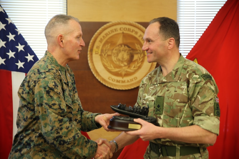 The Commandant General Royal Marines, Maj. Gen. Charlie R. Stickland (Right) visited the Commanding General of U.S. Marine Corps Forces Command, Lt. Gen. Mark A. Brilakis, Feb. 12, 2019, to discuss future bilateral training opportunities. The meeting allowed the two senior leaders to strengthen the long-standing rapport between the services while speaking about current and future operational advantages gained from training together.