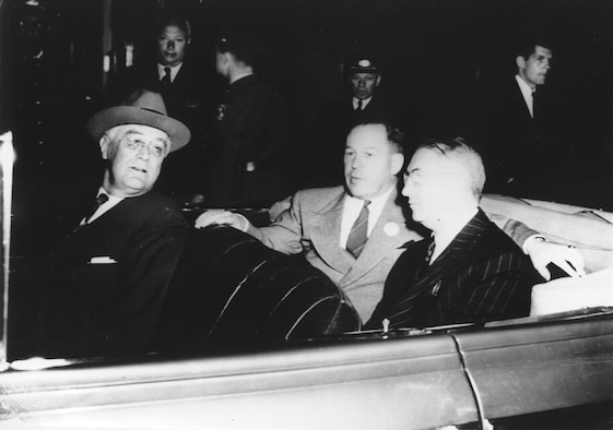 In the early 1930's, President Franklin D. Roosevelt arrived at the Martin Bomber plant located on then Fort Crook, currently Offutt Air Force Base, Nebraska. He was accompanied by Nebraska Governor Dwight Griswald, Glenn L. Martin, and G. T. Willey (plant manager.)