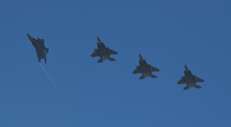Four U.S. Air Force F-15E Strike Eagles from Royal Air Force Lakenheath, England, fly above Albacete Air Base, Spain, during the NATO Tactical Leadership Programme 19-1 flying course, Feb. 15, 2019. The multilateral training course is designed to focus on developing tactical air expertise and leadership skills. (U.S. Air Force photo by Staff Sgt. Alex Fox Echols III)