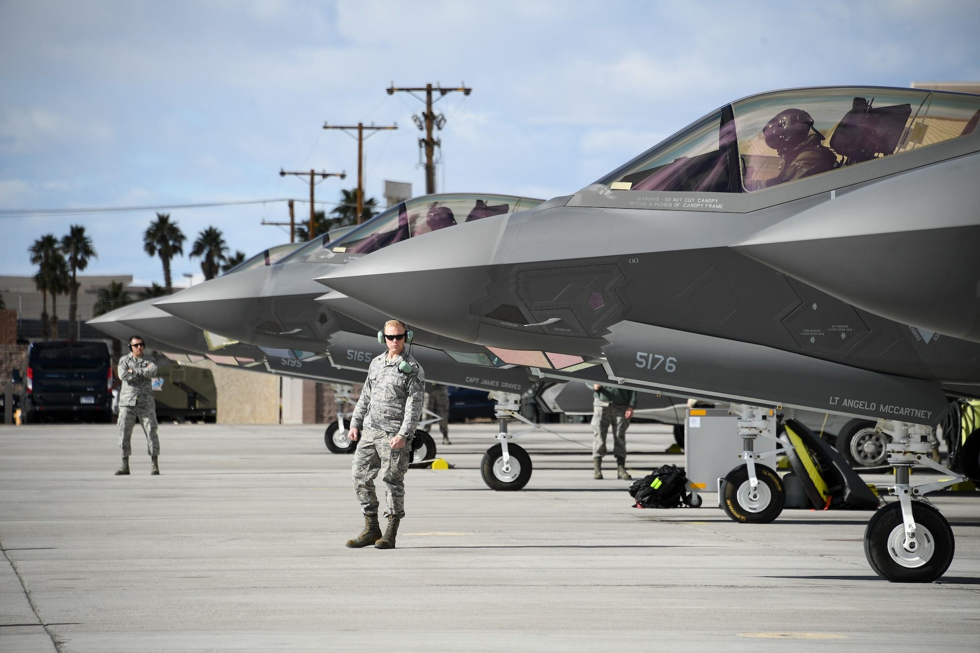 Crew chiefs assigned to the 4th Aircraft Maintenance Unit prepare to launch F-35A Lightning II fighter jets during Red Flag 19-1, Nelllis Air Force Base, Nev., Feb. 6, 2019. Pilots and maintainers from the 388th Fighter Wing's 4th Fighter Squadron and 4th Aircraft Maintenance Unit are participating in Red Flag 19-1 at Nellis AFB, Nevada. This is the wing's second Red Flag with the F-35A, America's most advanced multi-role fighter, which brings game-changing stealth, lethality and interoperability to the modern battlefield. Red Flag is the Air Force's premier combat exercise and includes units from across the Air Force and allied nations. The 388th is the lead wing for Red Flag 19-1.(U.S. Air Force photo by R. Nial Bradshaw)