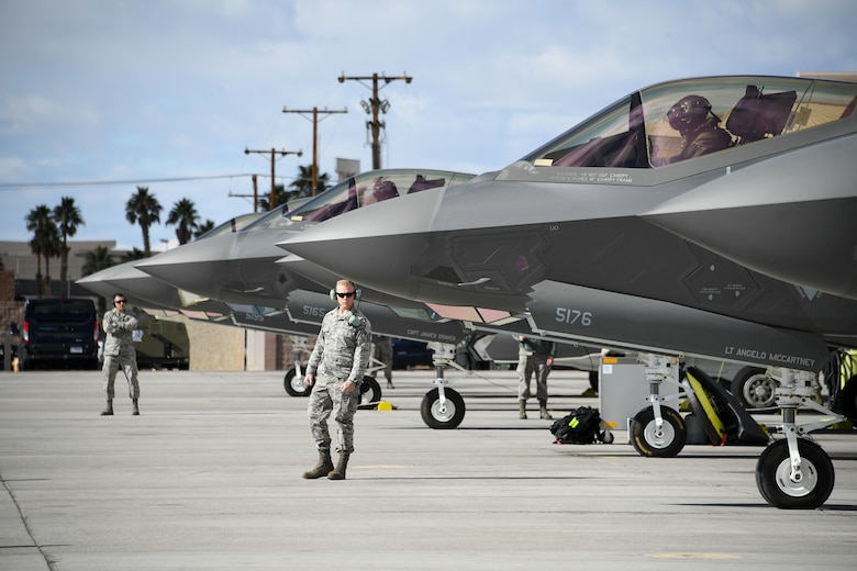 Crew chiefs assigned to the 4th Aircraft Maintenance Unit prepare to launch F-35A Lightning II fighter jets during Red Flag 19-1, Nelllis Air Force Base, Nev., Feb. 6, 2019. Pilots and maintainers from the 388th Fighter Wing's 4th Fighter Squadron and 4th Aircraft Maintenance Unit are participating in Red Flag 19-1 at Nellis AFB, Nevada. This is the wing's second Red Flag with the F-35A, America's most advanced multi-role fighter, which brings game-changing stealth, lethality and interoperability to the modern battlefield. Red Flag is the Air Force's premier combat exercise and includes units from across the Air Force and allied nations. The 388th is the lead wing for Red Flag 19-1. (U.S. Air Force photo by R. Nial Bradshaw)