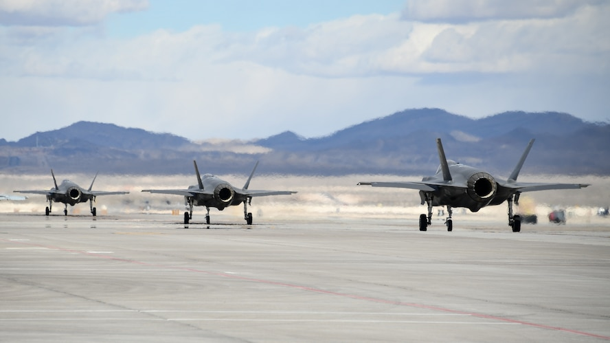 F-35A Lightning II fighter jets assigned to the 388th Fighter Wing's 4th Fighter Squadron taxi during Red Flag 19-1, Nelllis Air Force Base, Nev., Feb. 6, 2019. Pilots and maintainers from the 388th Fighter Wing's 4th Fighter Squadron and 4th Aircraft Maintenance Unit are participating in Red Flag 19-1 at Nellis AFB, Nevada. This is the wing's second Red Flag with the F-35A, America's most advanced multi-role fighter, which brings game-changing stealth, lethality and interoperability to the modern battlefield. Red Flag is the Air Force's premier combat exercise and includes units from across the Air Force and allied nations. The 388th is the lead wing for Red Flag 19-1. (U.S. Air Force photo by R. Nial Bradshaw)
