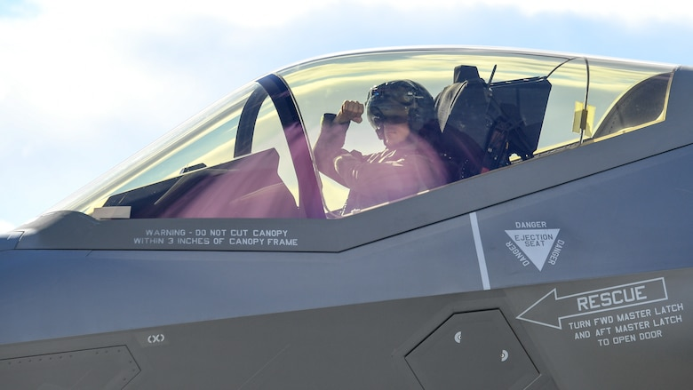 An F-35A Lightning II pilot from the 388th Fighter Wing's 4th Fighter Squadron prepares to launch during Red Flag 19-1, Nelllis Air Force Base, Nev., Feb. 6, 2019. Pilots and maintainers from the 388th Fighter Wing's 4th Fighter Squadron and 4th Aircraft Maintenance Unit are participating in Red Flag 19-1 at Nellis AFB, Nevada. This is the wing's second Red Flag with the F-35A, America's most advanced multi-role fighter, which brings game-changing stealth, lethality and interoperability to the modern battlefield. Red Flag is the Air Force's premier combat exercise and includes units from across the Air Force and allied nations. The 388th is the lead wing for Red Flag 19-1.(U.S. Air Force photo by R. Nial Bradshaw)