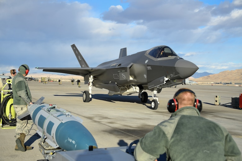 Airmen prepare to load an F-35A prior to a sortie. Pilots and maintainers from the 388th Fighter Wing's 4th Fighter Squadron and 4th Aircraft Maintenance Unit are participating in Red Flag 19-1 at Nellis AFB, Nevada. This is the wing's second Red Flag with the F-35A, America's most advanced multi-role fighter, which brings game-changing stealth, lethality and interoperability to the modern battlefield. Red Flag is the Air Force's premier combat exercise and includes units from across the Air Force and allied nations. The 388th is the lead wing for Red Flag 19-1. (U.S. Air Force photo by R. Nial Bradshaw)