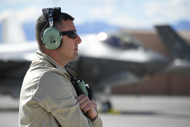 Tech. Sgt. Christopher Roberts, crew chief in the 419th Aircraft Maintenance Squadron, prepares to launch an F-35A Lightning II during Red Flag 19-1