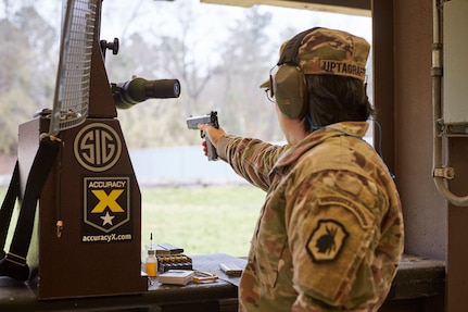 Staff Sgt. Sandra Uptagrafft, a Pan American Games medalist and Olympic shooter, trains with the U.S. Army Reserve Service Pistol Team.