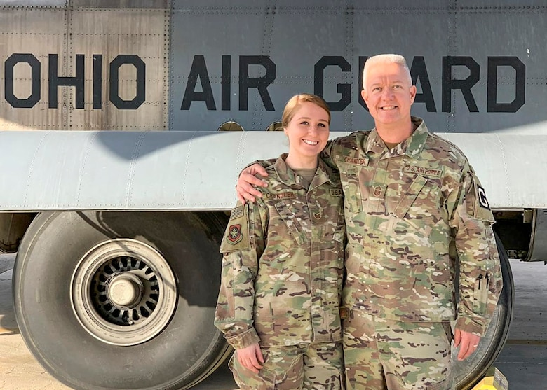 Chief Master Sgt. Ralph Chandler, 385th Aircraft Maintenance Squadron Det. 2 chief, and Staff Sgt. Madison Chandler, 779th Expeditionary Airlift Squadron aviation resource manager, pose for a photo in front of a C-130 at an undisclosed location in Southwest Asia, Feb. 18, 2019. This deployment was Madison's first and possibly Ralph's last, but the memories of being deployed together will last a lifetime.