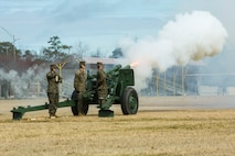 U.S. Marines with Bravo Battery, 1st Battalion, 10th Marines, 2nd Marine Division, host a 21 gun salute on Camp Lejeune, N.C., Feb. 18, 2019. The 21 Gun Salute, held in honor of Presidents Day in accordance with Naval Regulations, is a brief ceremony during which guns are discharged 21 times at 5 second intervals. (U.S. Marine Corps photo by Lance Cpl. Kensie S. Milner)