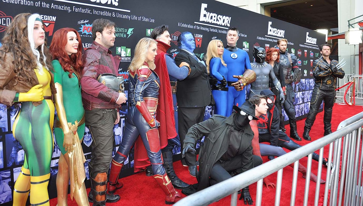 """Marvel Comic cosplayers pose for pictures on the Red Carpet prior to the start of """"Excelsior! A Celebration of the Amazing, Fantastic, Incredible and Uncanny Life of Stan Lee"""" Jan. 30 at the TCL Chinese Theatre in Hollywood, California. The event was a memorial tribute to Stan Lee, Marvel comic book writer, editor, publisher and co-creator, who died in November 2018. Lee was an Army veteran and former writer in the U.S. Army Signal Corps during World War II."""