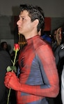 "A cosplayer dressed as Spiderman holds a single red rose while listening to friends and fellow colleagues of Marvel comic book legend Stan Lee pay tribute to him during ""Excelsior! A Celebration of the Amazing, Fantastic, Incredible and Uncanny Life of Stan Lee"" Jan. 30 at the TCL Chinese Theatre in Hollywood, California. The event was a memorial tribute to Lee, Marvel comic book writer, editor, publisher and producer, who died in November 2018. Lee was an Army veteran and former writer in the U.S. Army Signal Corps during World War II."