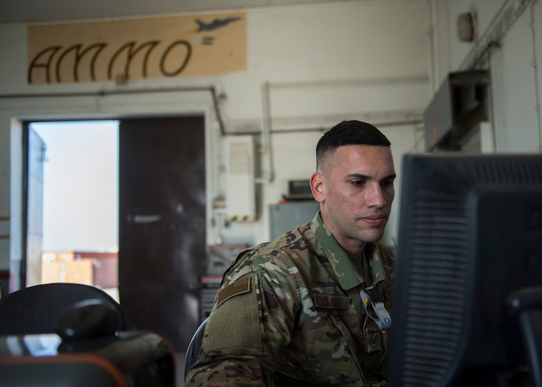 U.S. Air Force Staff Sgt. Edwin Cajigas, 39th Maintenance Squadron senior munitions inspector, logs inventory Jan. 23, 2019, at Incirlik Air Base, Turkey.