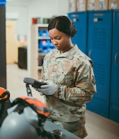 U.S. Air Force Staff Sgt. Kayla Stennis, 391st Expeditionary Fighter Squadron aircrew flight equipment craftsman, ensures oxygen masks are operational February 14, 2019 in Southwest Asia. After every mission, aircrew members return their equipment to the AFE shop where it is inspected, maintained and stored until their next flight. (U.S. Air Force photo by Staff Sgt. Delano Scott)