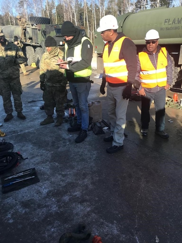 Army Field Support Battalion-Mannheim personnel inspect basic issue items during equipment turn-in operations at Grafenwoehr Training Area Jan. 28