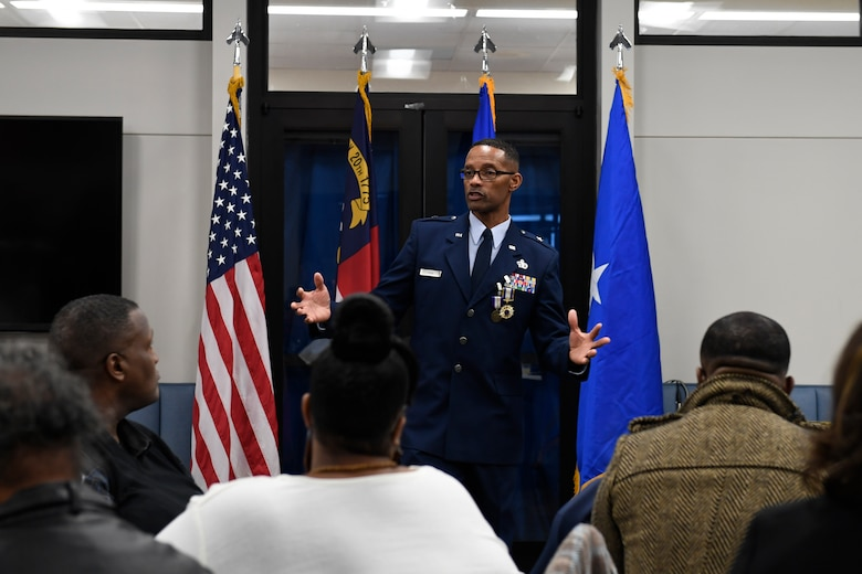 U.S. Air Force Brig. Gen. Clarence Ervin talks to family members during the retirement reception at the North Carolina Air National Guard Base (NCANG), Charlotte Douglas International Airport, Feb. 09, 2019. Family, friends and guard members gathered to celebrate the retirement of Gen. Ervin, Chief of Staff for the NCANG, after serving in the military for 37 years.