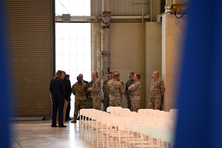 U.S. Air Force Brig. Gen. Clarence Ervin talks to friends and fellow airmen prior to his retirement ceremony at the North Carolina Air National Guard Base (NCANG), Charlotte Douglas International Airport, Feb. 09, 2019. Family, friends and guard members gathered to celebrate the retirement of Gen. Ervin, Chief of Staff for the NCANG, after serving in the military for 37 years.