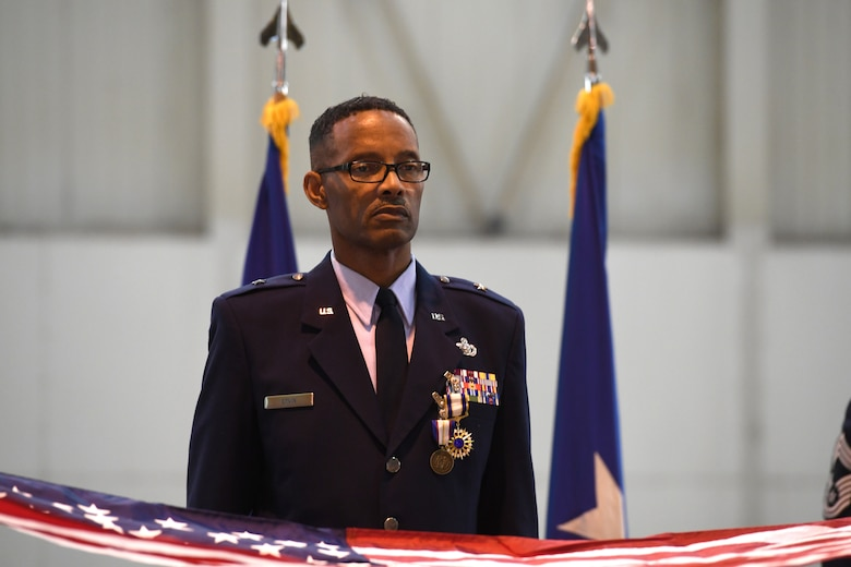 U.S. Air Force Brig. Gen. Clarence Ervin stands at attention as members of 145th Force Support Squadron Honor Guard fold a U.S. Flag during his retirement ceremony at the North Carolina Air National Guard Base (NCANG), Charlotte Douglas International Airport, Feb. 09, 2019. Family, friends and guard members gathered to celebrate the retirement of Gen. Ervin, Chief of Staff for the NCANG, after serving in the military for 37 years.