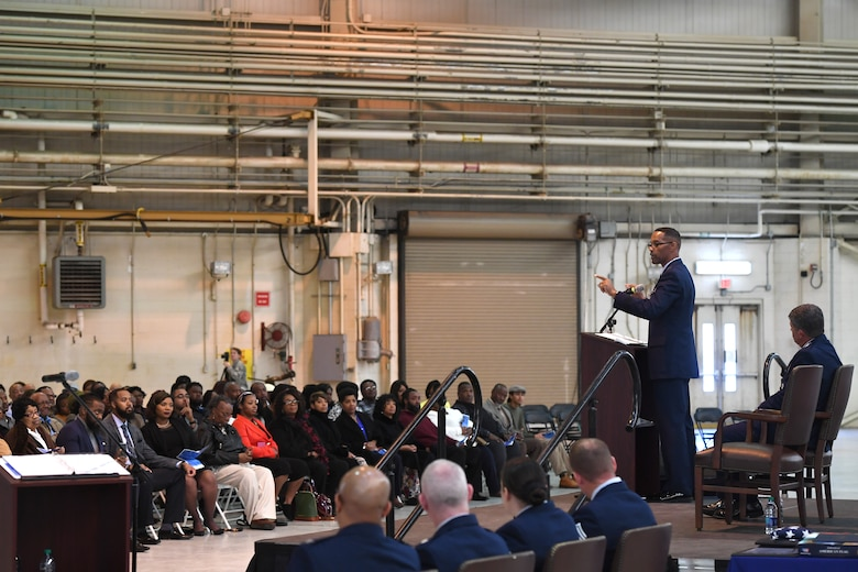 U.S. Air Force Brig. Gen. Clarence Ervin delivers his speech to family members during his retirement ceremony at the North Carolina Air National Guard Base (NCANG), Charlotte Douglas International Airport, Feb. 09, 2019. Family, friends and guard members gathered to celebrate the retirement of Gen. Ervin, Chief of Staff for the NCANG, after serving in the military for 37 years.
