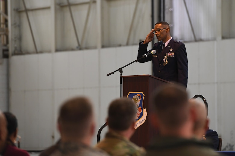 U.S. Air Force Brig. Gen. Clarence Ervin renders a final salute to fellow guard members after delivering a speech during his retirement ceremony at the North Carolina Air National Guard Base (NCANG), Charlotte Douglas International Airport, Feb. 09, 2019. Family, friends and guard members gathered to celebrate the retirement of Gen. Ervin, Chief of Staff for the NCANG, after serving in the military for 37 years.