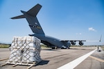 A C-17 Globemaster III delivers humanitarian aid from Homestead Air Reserve Base, FL to Cucuta, Colombia February 16, 2019.  This mission was planned at the request of the U.S. Secretary of State, in close coordination with USAID and with the approval of the government of Colombia.  The role of the U.S. military during this peaceful mission is to transport urgently needed aid to Colombia for eventual distribution by relief organizations on the ground for Venezuelans impacted by the rapidly deteriorating crisis in their country.  This humanitarian mission underscores the United States' firm commitment and readiness to respond to the man-made political, economic, and humanitarian crisis in Venezuela. (U.S. Air Force Photo by Tech. Sgt. Gregory Brook)