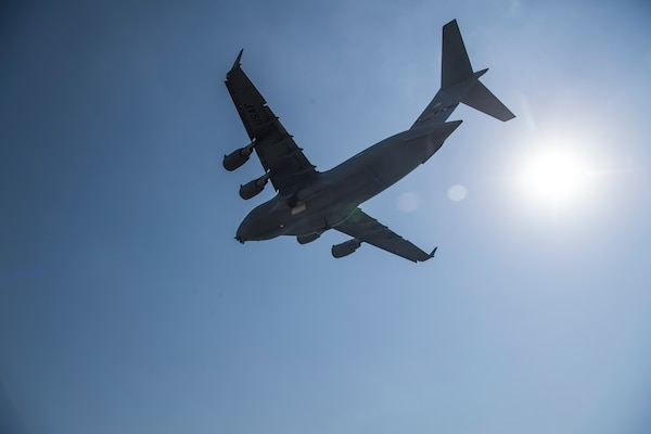 A C-17 Globemaster III delivers humanitarian aid from Homestead Air Reserve Base, FL to Cucuta, Colombia February 16, 201
