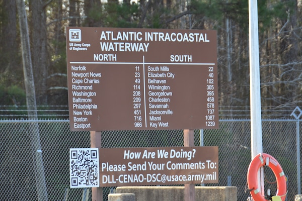 A large, brown sign indicates distances relative to the Deep Creek lock on the Dismal Swamp Canal. The forest is in the background and a life preserver is hanging by the sign.