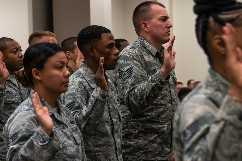 Reserve Citizen Airmen from the 403rd Wing participated in a Noncommissioned Officer and Senior Noncommissioned Officer Induction Ceremony at Keesler Air Force Base, Mississippi February 10, 2019.  This induction ceremony recognizes Airmen rising in the ranks and the responsibilities of these new leaders and mentors in the U.S. Air Force Reserve. (U.S. Air Force photo by Staff Sgt. Shelton Sherrill)