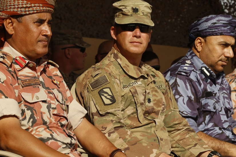 Commander of 2nd Battalion, 198th Armored Regiment, 155th Armored Brigade Combat Team, Lt. Col. Kenneth Anthony, watches the culminating event of Inferno Creek 19 with his Omani counterpart in Rabkoot, Oman, Feb. 5, 2019. Inferno Creek is a bilateral training exercise designed to build interoperability between the U.S. Army and the Royal Army of Oman. During the exercise, both militaries are developing shared understanding of each other's tactics, techniques and procedures to build proficiency and work together to support long-term regional stability.
