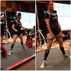 Michelle Lawing, Sexual Assault Prevention and Response coordinator for MCLB Barstow, deadlifts 330.7 pounds, breaking the world record at the International Powerlifting League World Championships held in Las Vegas, Nev., Nov. 9, 2018. This was one of several records she broke during the course of meets throughout 2018. Photo courtesy of Jim Seifert.
