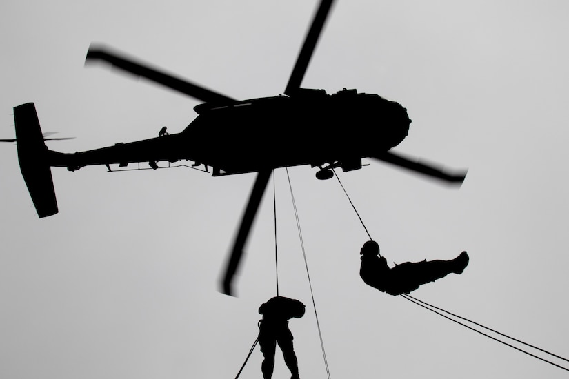 Air assault students practice rappelling out of a Black Hawk helicopter on day nine of Air Assault School's Class 301-19, Feb. 14, 2019, at Camp Buehring, Kuwait. The hands-on training in U.S. Army Central's area of operations with a Black Hawk helicopter gave Soldiers the opportunity to develop additional skills, which included moving equipment and rappelling, that benefited their unit while forward deployed.