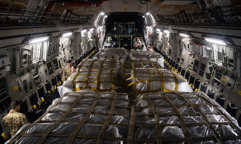 C-17 Globemaster III's deliver humanitarian aid from Homestead Air Reserve Base, FL to Cucuta, Colombia February 16, 2019.