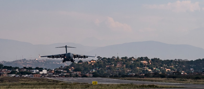 A C-17 Globemaster III delivers humanitarian aid from Homestead Air Reserve Base, FL to Cucuta, Colombia February 16, 2019.