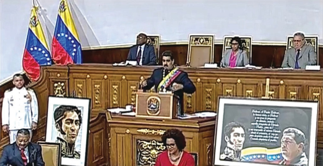 President Maduro speaking at a Venezuelan Constituent Assembly session on August 10, 2017. (Presidency Press)Licensed under Creative Commons Attribution-ShareAlike 3.0 Unported License. Photo produced unaltered.