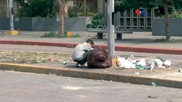 A Venezuelan eating from a garbage bag due to food shortages in 2017. (VOA)   Photo taken from a public domain Voice of America video and posted to Wikimedia by ZiaLater, using UploadWizard.