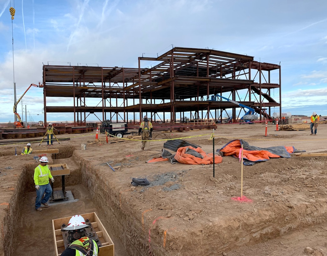 Workers continue with construction on the new NNSA building, Feb. 4, 2019.