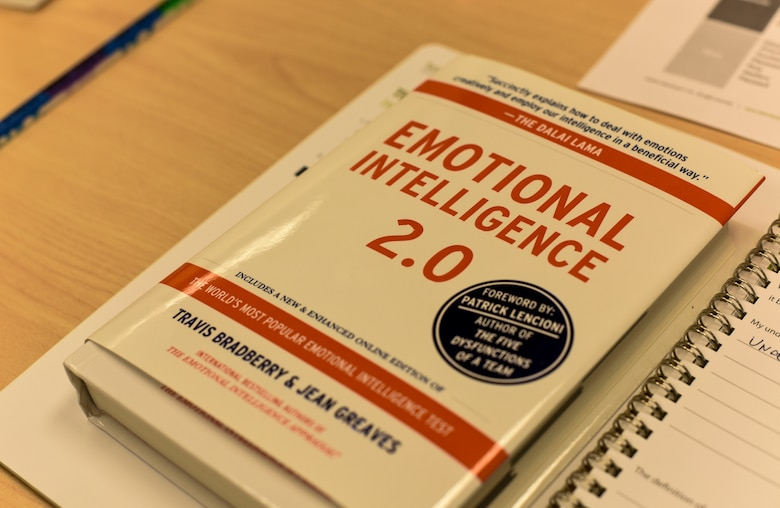 An Emotional Intelligence book rests on a table during an Emotional Intelligence (EQ) class at Fairchild Air Force Base, Washington, Feb. 15, 2019. Airmen participating in the class must perform an online Emotional Intelligence Appraisal before attending the class. The appraisal reveals the individual's EQ skill level and suggests what areas can be improved based. (U.S. Air Force photo/Senior Airman Jesenia Landaverde)