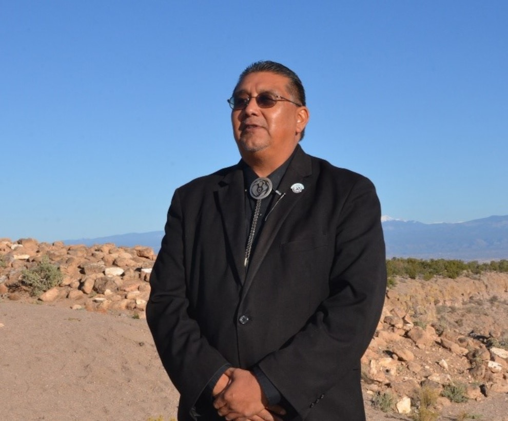 Santa Clara Pueblo Gov. J. Michael Chavarria discusses the issues surrounding the devastation of the Pueblo's tribal lands, as well as the Pueblo's partnering relationship with the U.S. Army Corps of Engineers, Nov. 9, 2018.