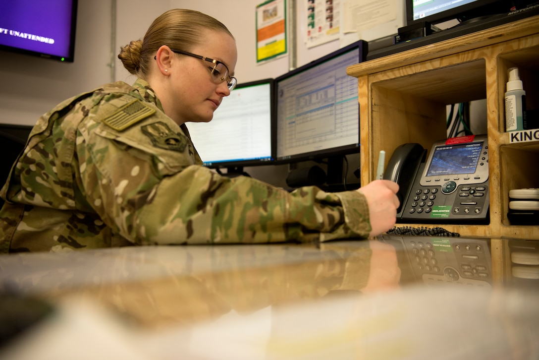 Senior emergency actions controller Senior Airman Hannah Smith showcases the multifaceted mission of the 455th Air Expeditionary Wing Command Post on Jan. 30, 2019.