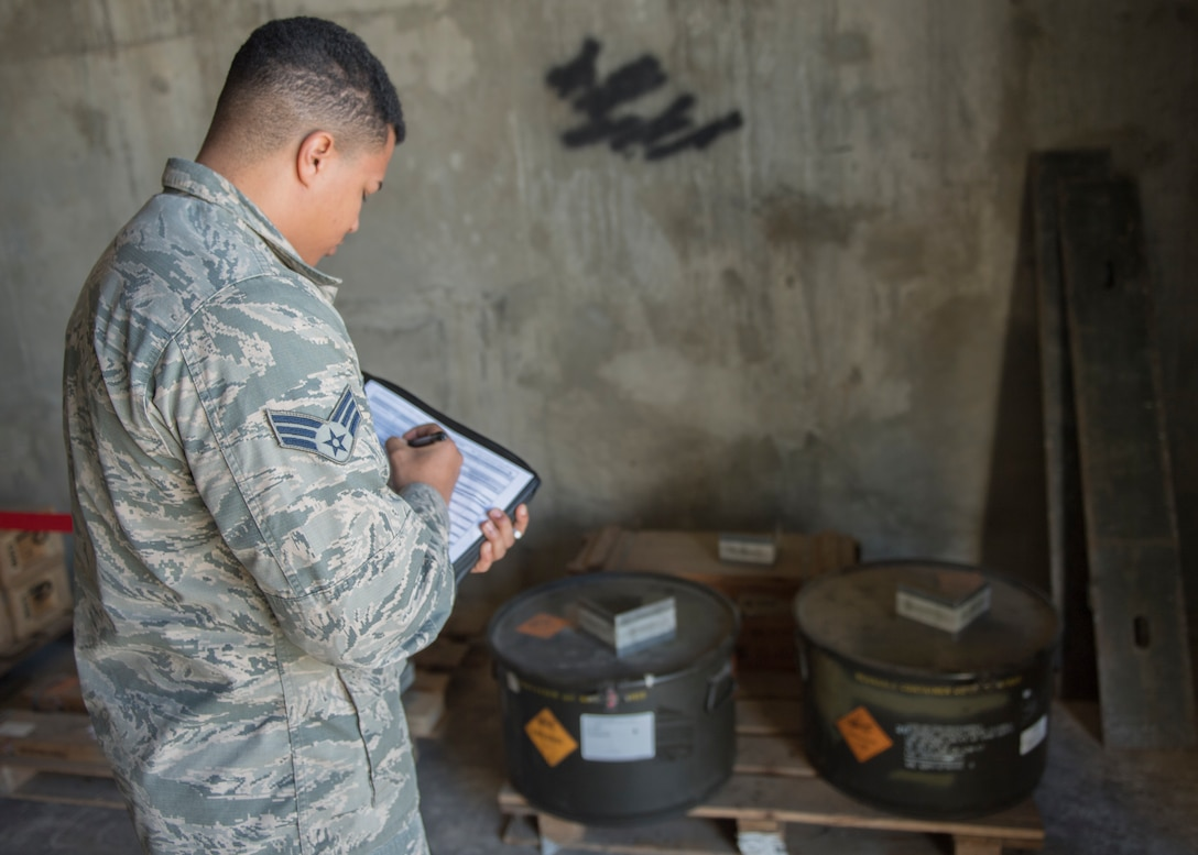 U.S. Air Force Senior Airman Winston Hendrick, 39th Maintenance Squadron munitions inspector, conducts inventory for munitions Jan. 23, 2019, at Incirlik Air Base, Turkey.
